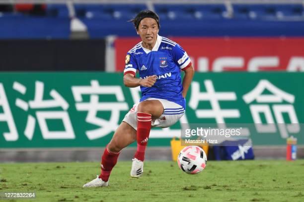 Jun Amano of Yokohama F.Marinos in action during the J.League Meiji Yasuda J1 match between Yokohama F.Marinos and Shimizu S-Pulse at Nissan Stadium...
