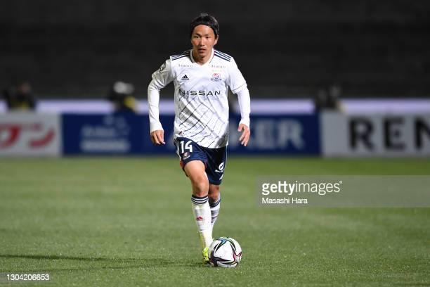 Jun Amano of Yokohama F.Marinos in action during the J.League Meiji Yasuda J1 match between Kawasaki Frontale and Yokohama F.Marinos at the Todoroki...