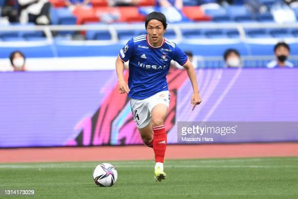 Jun Amano of Yokohama F.Marinos in action during the J.League Meiji Yasuda J1 match between Yokohama F.Marinos and Yokohama FC at Nissan Stadium on...