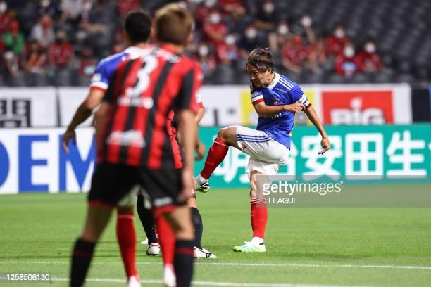 Jun Amano of Yokohama F.Marinos scores his side's first goal during the J.League Meiji Yasuda J1 match between Consadole Sapporo and Yokohama...