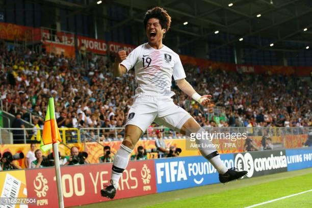 Jun Choi of Korea Republic celebrates after scoring his team's first goal during the 2019 FIFA U-20 World Cup Semi Final match between Ecuador and...