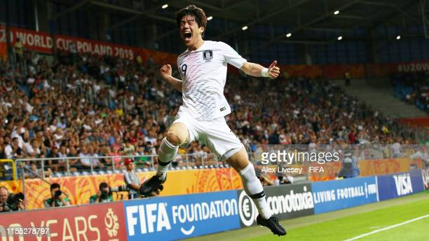 Jun Choi of Korea Republic celebrates after scoring his team's first goal during the 2019 FIFA U20 World Cup Semi Final match between Ecuador and...