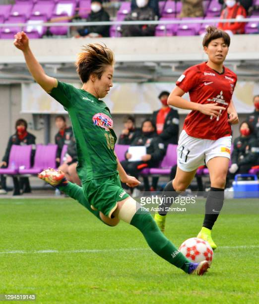 Jun Endo of Nippon TV Tokyo Verdy Beleza scores her side's first goal during the Empress's Cup 42nd All Japan Women's Football Championship final...