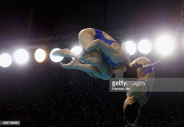 Jun Hoong Cheong and Mun Yee Leong of Malaysia dives in the Women's 10m Synchro Platform Final during day one of the FINA/NVC Diving World Series...