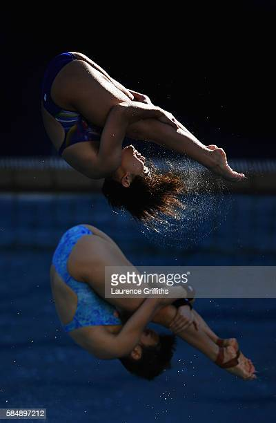 Jun Hoong Cheong and Nur Dhabitah Sabri of Malaysia practice the Stnchronised 3m Springboard during a diving practice session at Maria Lenk Aquatics...