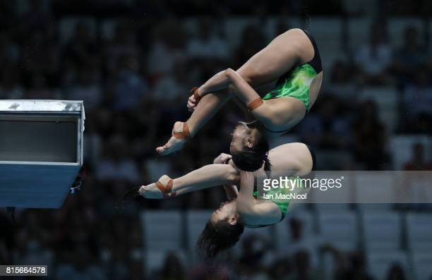 Jun Hoong Cheong and Pandelela Pamg of Malaysia compete in the final of the Women's 10m Synchro Platform during day three of the 2017 FINA World...