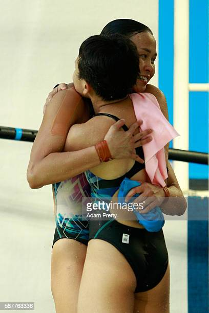 Jun Hoong Cheong and Pandelela Rinong of Malaysia celebrate in the Women's Diving Synchronised 10m Platform Final on Day 4 of the Rio 2016 Olympic...