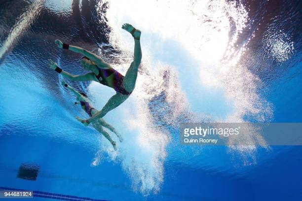 Jun Hoong Cheong and Pandelela Rinong Pamg of Malaysia compete in the Women's Synchronised 10m Platform Diving Final on day seven of the Gold Coast...