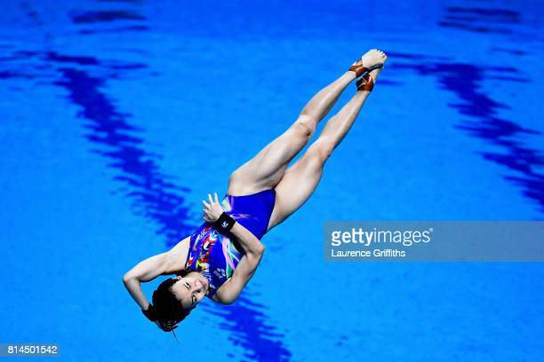 Jun Hoong Cheong of Malaysia competes during the Womens 1M Springboard Diving preliminary round on day one of the Budapest 2017 FINA World...