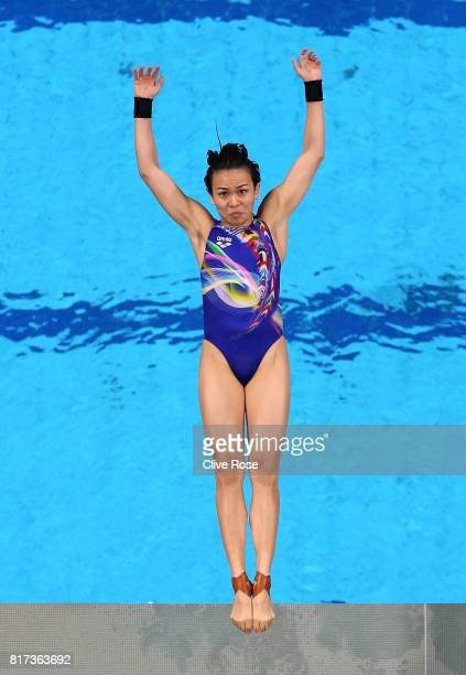 Jun Hoong Cheong of Malaysia competes during the Women's Diving 10M Platform preliminary round on day five of the Budapest 2017 FINA World...