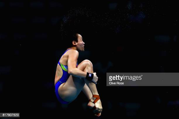 Jun Hoong Cheong of Malaysia competes during the Women's Diving 10M Platform semi final on day five of the Budapest 2017 FINA World Championships on...