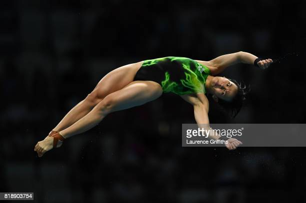 Jun Hoong Cheong of Malaysia competes during the Women's Diving 10m Platform final on day six of the Budapest 2017 FINA World Championships on July...