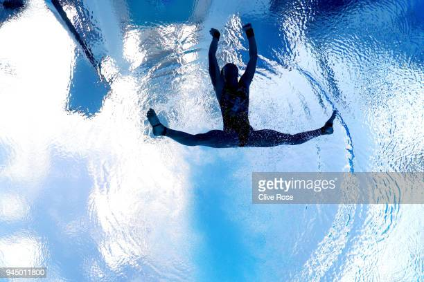 Jun Hoong Cheong of Malaysia competes in the Women's 10m Platform Diving Preliminary on day eight of the Gold Coast 2018 Commonwealth Games at Optus...