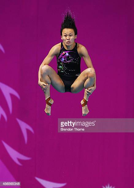 Jun Hoong Cheong of Malaysia competes in the Women's 3m Springboard Final during day fourteen of the 2014 Asian Games at Munhak Park Taehwan Aquatics...