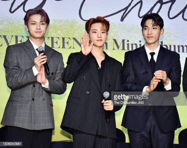 Jun, Hoshi, DK of SEVENTEEN attend SEVENTEEN's 8th Mini Album 'Your Choice' Release Press Conference at Intercontinental Seoul Coex Harmony Ballroom...