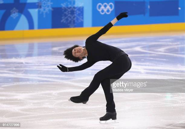 Jun Hwan Cha of Korea in action during Figure Skating training ahead of the PyeongChang 2018 Winter Olympic Games at Gangneung Ice Arena on February...