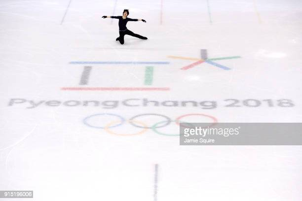 Jun Hwan Cha of Korea trains during figure skating practice ahead of the PyeongChang 2018 Winter Olympic Games at Gangneung Ice Arena on February 7...