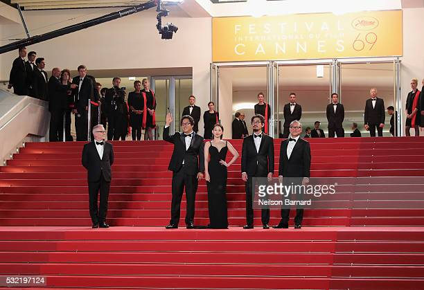 Jun Kunimura Na HongJin Chun Woo Hee and Kwak Do Won attend The Strangers Premiere during the 69th annual Cannes Film Festival at the Palais des...
