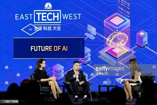 Jun Lu, Head of Lufax Technological Center of Lufax and Lucy Gazmararian of Associate Director of PwC Hong Kong speak with Deirdre Bosa, Technology...