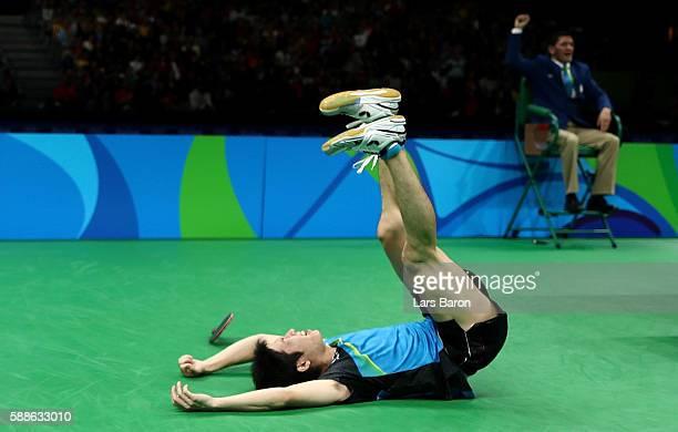 Jun Mizutani celebrates after winning the Mens Table Tennis Bronze Medal match against Vladimir Samsonov of Belarus at Rio Centro on August 11, 2016...