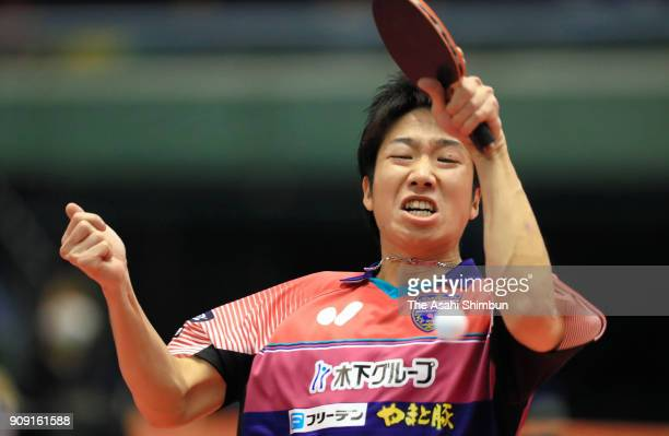 Jun Mizutani competes in the Men's Singles semi final against Kenta Matsudaira during day seven of the All Japan Table Tennis Championships at the...