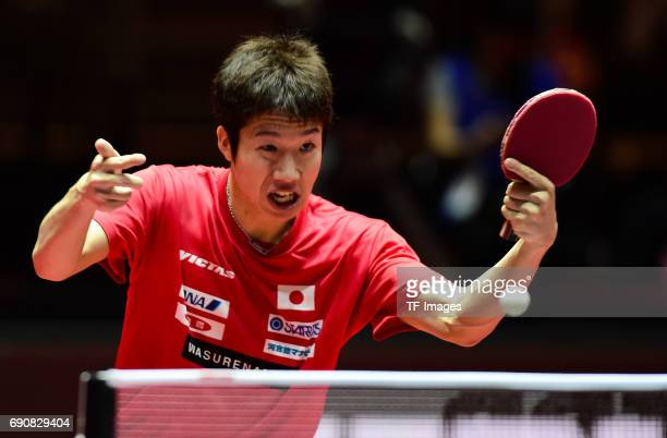 """Jun mizutani """"n in action during the Table Tennis World Championship at Messe Duesseldorf on May 29, 2017 in Dusseldorf, Germany."""