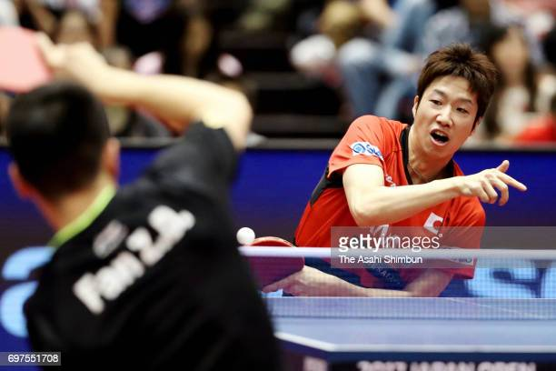 Jun Mizutani of Japan competes during the men's singles semi final match against Zhendong Fan of China on day five of the 2017 ITTF World Tour...