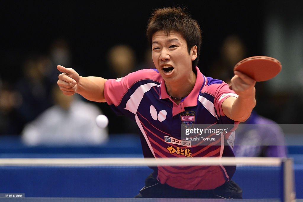Jun Mizutani of Japan competes in the Men's Singles during day five of All Japan Table Tennis Championships 2015 at Tokyo Metropolitan Gymnasium on January 16, 2015 in Tokyo, Japan.