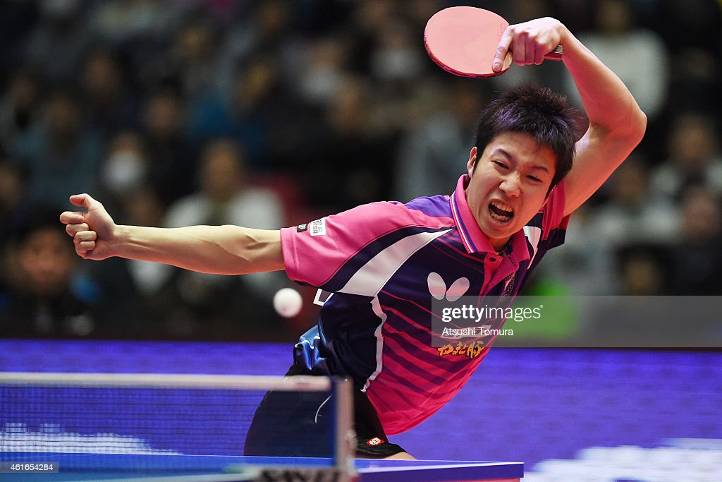 Jun Mizutani of Japan competes in the Men's Singles during day six of All Japan Table Tennis Championships 2015 at Tokyo Metropolitan Gymnasium on January 17, 2015 in Tokyo, Japan.