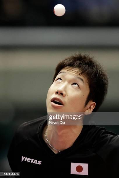 Jun Mizutani of Japan competes in the Men's Singles quarter final match against Lee Sangsu of South Korea during day four of the 2017 ITTF World Tour...