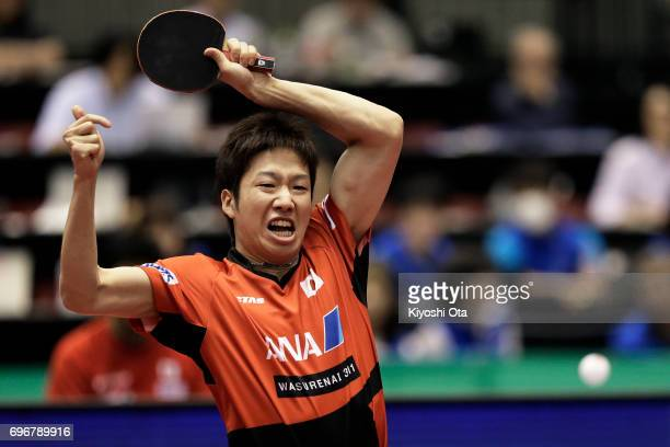 Jun Mizutani of Japan competes in the Men's Singles second round match against Kristian Karlsson of Sweden during day four of the 2017 ITTF World...