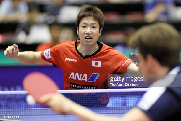 Jun Mizutani of Japan competes in the Men's Singles second round match against Kristian Karlsson of Sweden on day four of the 2017 ITTF World Tour...