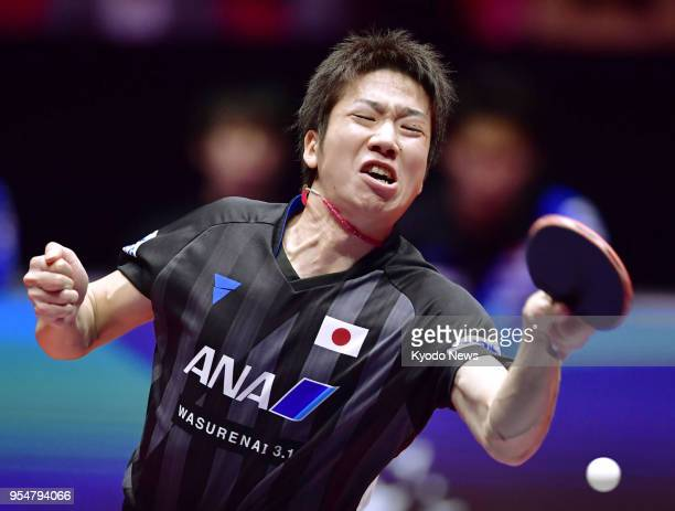 Jun Mizutani of Japan plays against South Korea in the quarterfinals of the World Team Table Tennis Championships in Halmstad Sweden on May 4 2018...