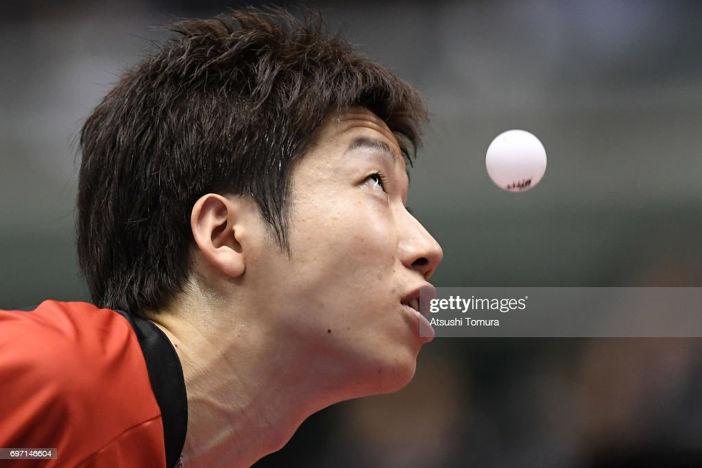 Jun Mizutani of Japan serves during the men's singles semi final match against Zhendong Fan of China on the day 5 of the 2017 ITTF World Tour Platinum LION Japan Open at Tokyo Metropolitan Gymnasium on June 18, 2017 in Tokyo, Japan.