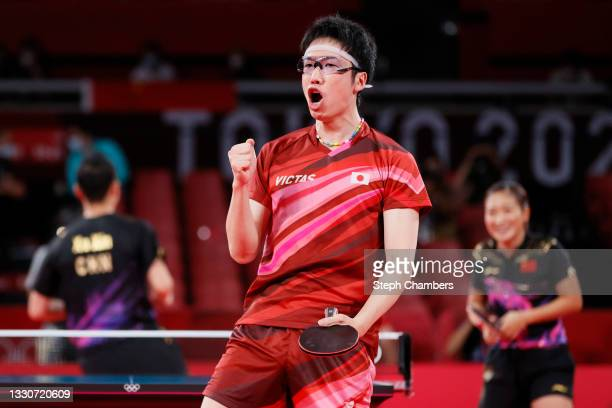 Jun Mizutani of Team Japan reacts during his Mixed Doubles Gold Medal match on day three of the Tokyo 2020 Olympic Games at Tokyo Metropolitan...