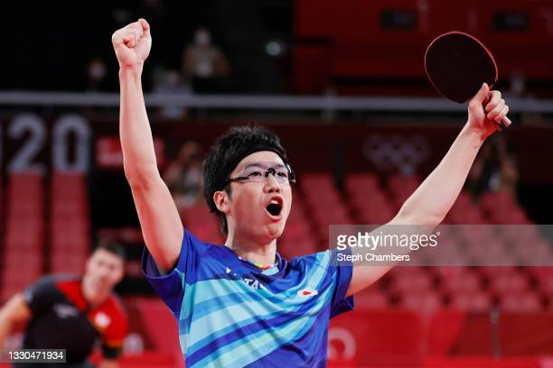 Jun Mizutani of Team Japan reacts during their Mixed Doubles Quarterfinal match on day two of the Tokyo 2020 Olympic Games at Tokyo Metropolitan...