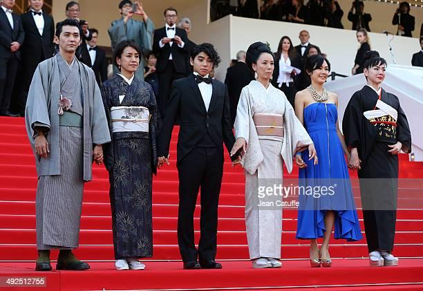 Jun Murakami Makiko Watanabe Nijiro Murakami director Naomi Kawase Jun Yoshinaga Miyuki Matsuda attend 'Futatsume No Mado' premiere during the 67th...