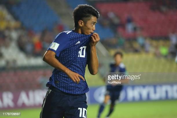 Jun Nishikawa of Japan celebrates after scoring a goal during the FIFA U-17 World Cup Brazil 2019 group D match between Senegal and Japan at Estadio...