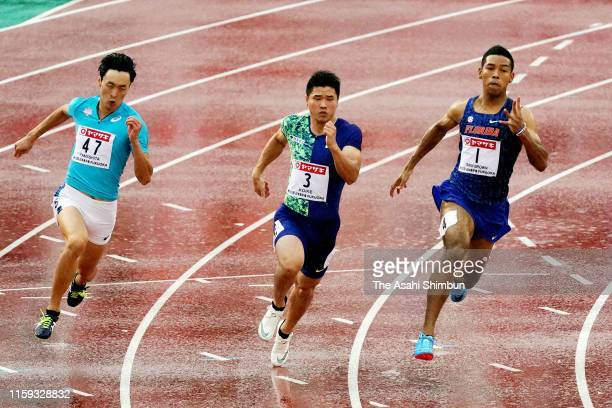 Jun Yamashita, Yuki Koike and Abdul Hakim Sani Brown competes in the Men's 200m final on day four of the 103rd JAAF Athletics Championships at...
