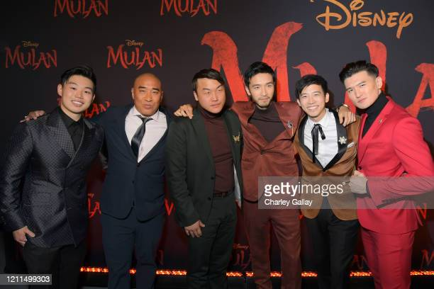 Jun Yu Ron Yuan Doua Moua Yoson An Jimmy Wong and Chen Tang attend the World Premiere of Disney's 'MULAN' at the Dolby Theatre on March 09 2020 in...