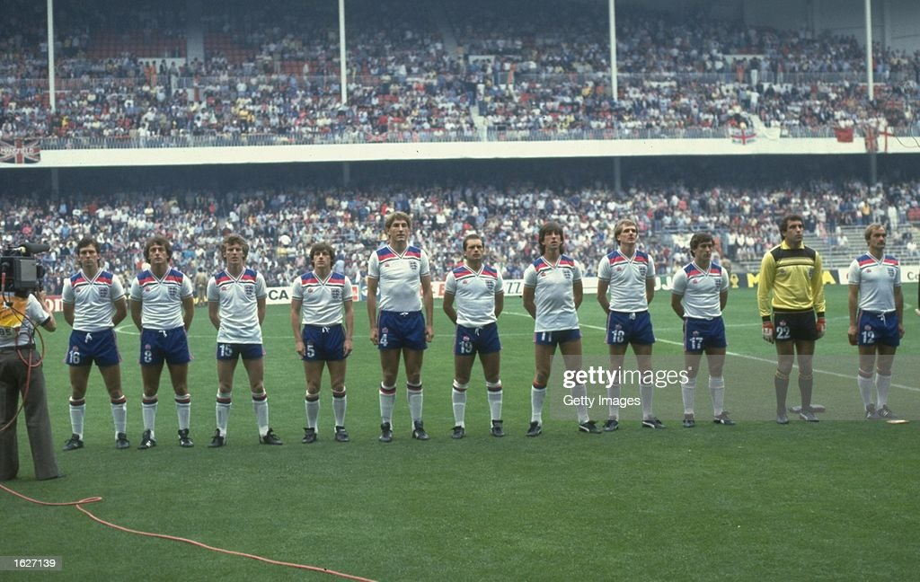 The England team line up for the National Anthem before a match during the World Cup in Spain : News Photo