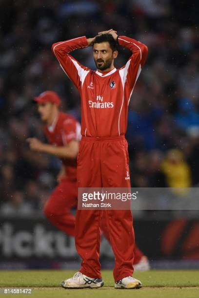 Junaid Khan of Lancashire holds his hands on his head during NatWest T20 Blast match against Lancashire Lightning and Yorkshire Vikings at Old...