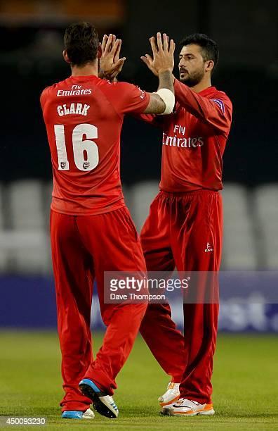 Junaid Khan of Lancashire Lightning celebrates taking the wicket of Ateeq Javid of Birmingham Bears during The Natwest T20 Blast match between...