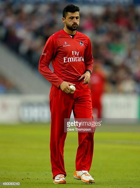 Junaid Khan of Lancashire Lightning during The Natwest T20 Blast match between Lancashire Lightning and Birmingham Bears at the Emirates Old Trafford...