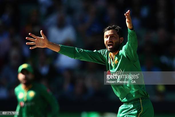 Junaid Khan of Pakistan appeals unsuccessfully during game two of the One Day International series between Australia and Pakistan at Melbourne...