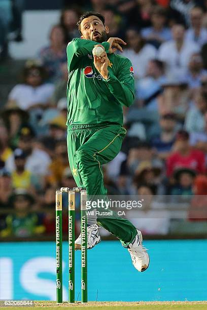 Junaid Khan of Pakistan bowls during game three of the One Day International series between Australia and Pakistan at WACA on January 19 2017 in...