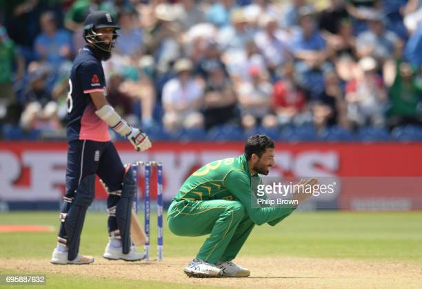 Junaid Khan of Pakistan celebrates after dismissing Moeen Ali of England during the ICC Champions Trophy match between England and Pakistan at Swalec...