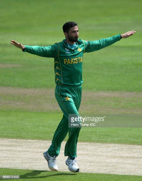 Junaid Khan of Pakistan celebrates after dismissing Soumya Sarkar of Bangladesh during the ICC Champions Trophy Warmup match between Bangladesh and...