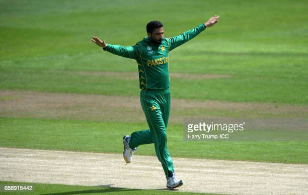 Junaid Khan of Pakistan celebrates after dismissing Soumya Sarkarof Bangladesh during the ICC Champions Trophy Warmup match between Bangladesh and...