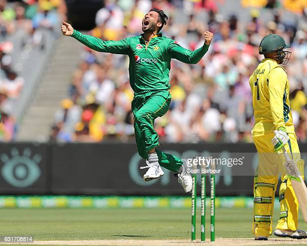Junaid Khan of Pakistan celebrates after dismissing Usman Khawaja of Australia during game two of the One Day International series between Australia...